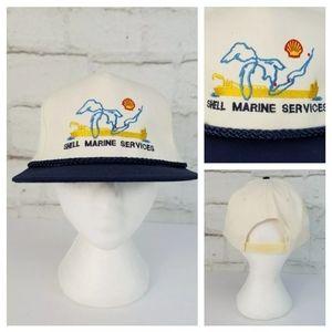 Vintage Shell Marine Services Snapback Trucker Hat